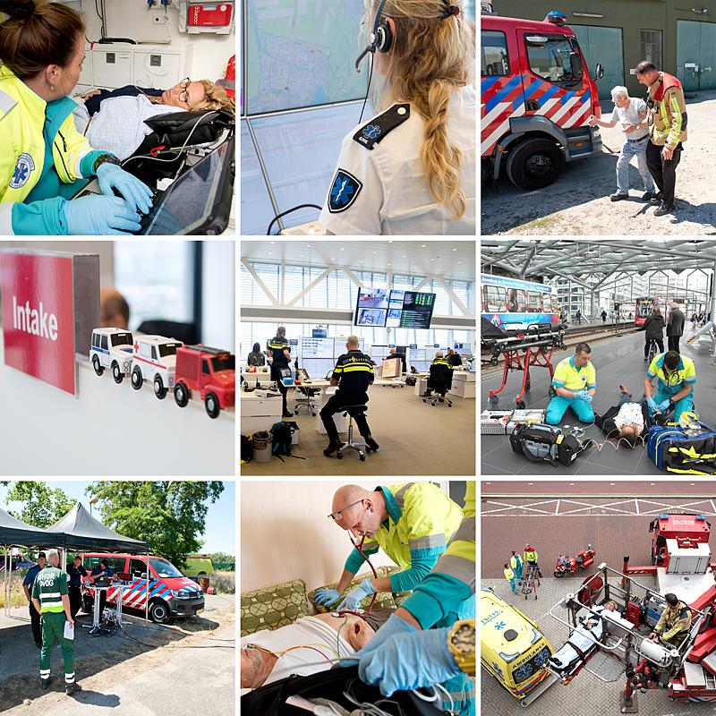 bedrijfsreportage voor de overkoepelende veiligheidsregio Den Haag. GHOR, politie, ambulancedienst, brandweer door Bas Adriaans fotografie.